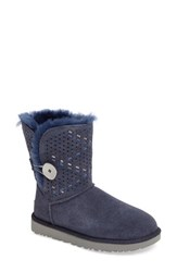 Uggr Women's Ugg Bailey Genuine Shearling Button Tehuano Boot Navy Suede