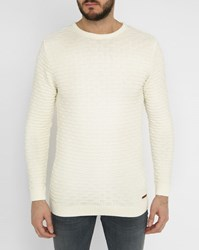 Knowledge Cotton Apparel White Textured Round Neck Sweater
