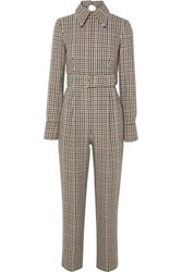 Emilia Wickstead Rosa Cutout Back Houndstooth Tweed Jumpsuit Gray