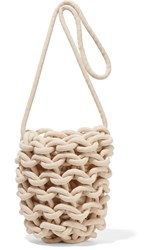 Alienina Woven Cotton Shoulder Bag Off White