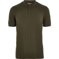 River Island Mens Dark Green Ribbed Muscle Fit Polo T Shirt