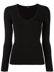 Joseph Scoop Neck Jumper Black