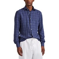 Barneys New York Checked Slub Linen Shirt Navy