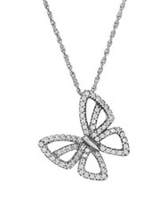 Lord And Taylor Diamond Butterfly Pendant Necklace Silver