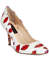 Inc International Concepts Women's Zitah Pumps Only At Macy's Women's Shoes Lip Print White
