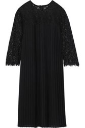 Mikael Aghal Woman Corded Lace Paneled Pleated Crepe De Chine Dress Black