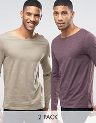 Asos Long Sleeve T Shirt With Boat Neck 2 Pack Oxblood Tan Multi