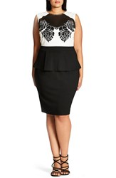 City Chic Plus Size Women's Mono Applique Sheath Dress