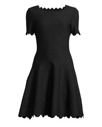 Alaia Scallop Hem Floral Embossed Fit And Flare Dress Black