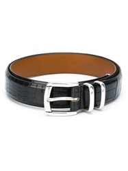 Eleventy Metal Tip Belt Black