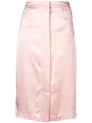 Fleur Du Mal Hammered Silk Placket Front Skirt Pink And Purple
