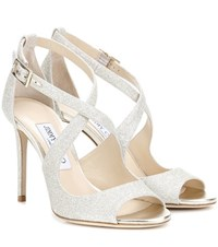 Jimmy Choo Emily 100 Glitter Sandals Metallic