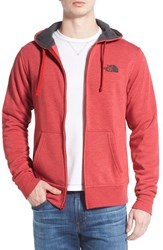The North Face Men's 'Lfc' Full Zip Fleece Hoodie Pompeian Red Asphalt Grey