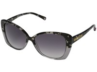 Betsey Johnson Square Cat Shape Frame W Gradient Print Overlay Lens Grey Fashion Sunglasses Gray