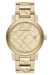 Burberry Men's Check Stamped Bracelet Watch Metallic