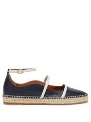 Malone Souliers Selina Waved Edge Leather Espadrilles Navy