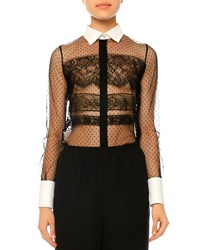 Valentino Dot Print And Banded Lace Blouse Nero