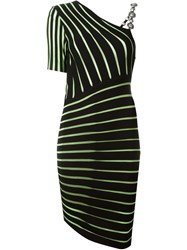 Fausto Puglisi Asymmetric Striped Dress Black