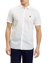 Lyle And Scott Square Dot Pattern Short Sleeve Shirt White