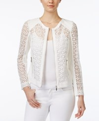 Xoxo Juniors' Crochet Zip Front Moto Jacket White
