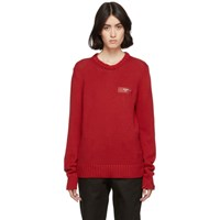 Off White Red Knit Logo Crewneck Sweater