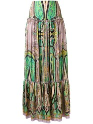 Etro Abstract Print Peasant Skirt Women Silk 42