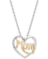 Macy's Diamond Mom Heart Pendant 1 10 Ct. T.W. In Sterling Silver And 14K Gold Two Tone