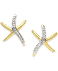 Victoria Townsend Diamond Accent Starfish Earrings In 18K Gold Over Sterling Silver