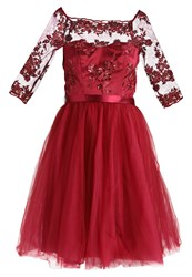 Chi Chi London Sheena Cocktail Dress Party Dress Berry Dark Red