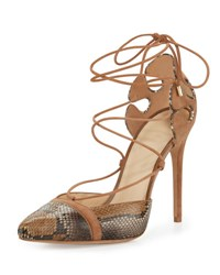 Alexandre Birman Suede And Python Lace Up Sandal Shadow Beige