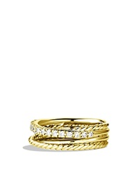 David Yurman Crossover Ring With Diamonds In Gold Yellow Gold