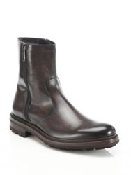 Saks Fifth Avenue Hand Burnished Leather Boots Brown