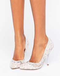 Paper Dolls Pointed Stiletto Pumps With Lace Overlay Blue