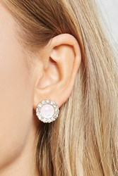 Forever 21 Faux Gem And Rhinestone Studs Gold Clear