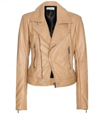 Balenciaga Leather Biker Jacket Beige