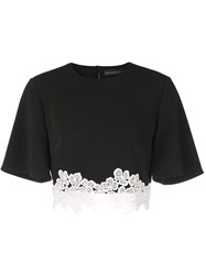 David Koma Lace Embellished T Shirt Black