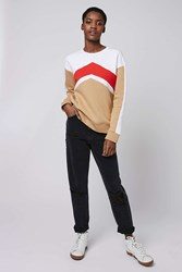 Topshop Sporty Chevron Sweat Red