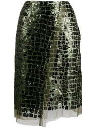 Dorothee Schumacher Sequin Embroidered Tulle Skirt Green