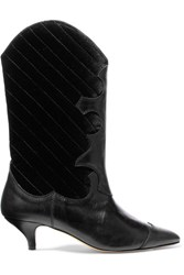 Ganni Adel Leather And Quilted Velvet Knee Boots Black