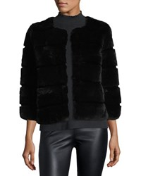 Belle Fare Hook Front Rabbit Fur Jacket Black
