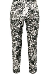 Giambattista Valli Printed Satin Skinny Pants Black
