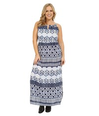 Roper Plus Size 0235 Aztec Stripe Printed Maxi Dress Blue Women's Dress