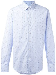 Salvatore Ferragamo Polka Dot Shirt Blue