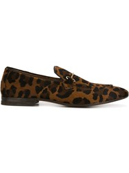 Henderson Baracco 'Cammello' Animal Print Loafers Brown