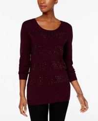 Charter Club Beaded Stripe Sweater Created For Macy's Damask Plum Combo