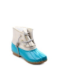 Jack Rogers Chloe Fleece Lined Leather Duck Boots Light Blue