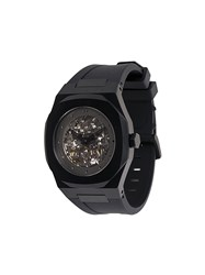 D1 Milano Skeleton Watch Steel Rubber Black