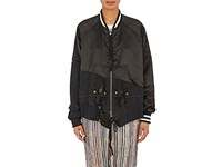 Greg Lauren Women's Satin Boyfriend Flight Jacket Black