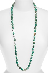 Simon Sebbag Long Beaded Necklace Silver Green Turquoise