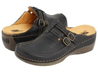 Spring Step Happy Black Leather Women's Clog Mule Shoes